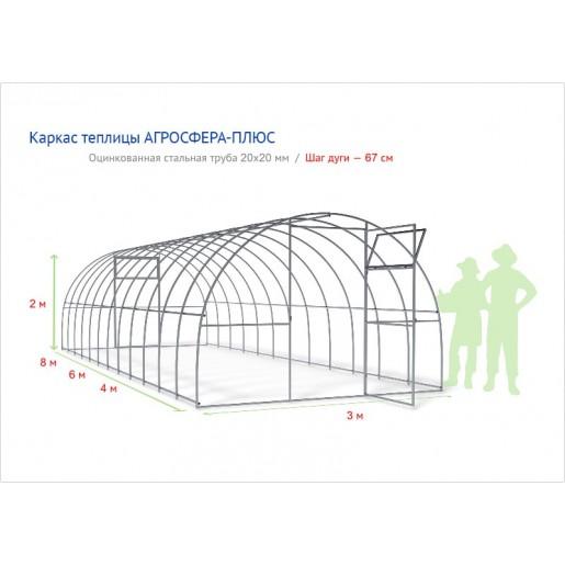 Теплица Агросфера Плюс, 8 метров, поликарбонат 3 мм.